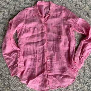 Lilly Pulitzer pink Sea View linen button down M